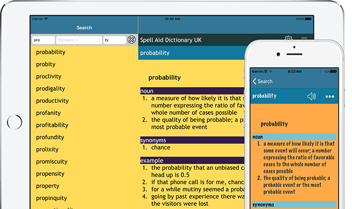 Spell Aid app displayed on an iPad and iPhone