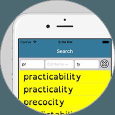Spell Aid screenshot showing bespoke search method