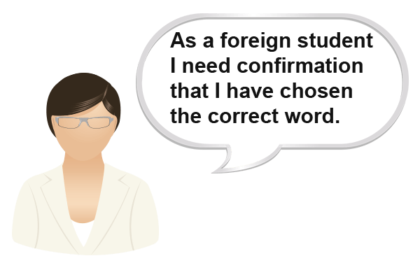 How can the Spell Aid Dictionary app help a foreign student to confirm they have chosen the correct word?